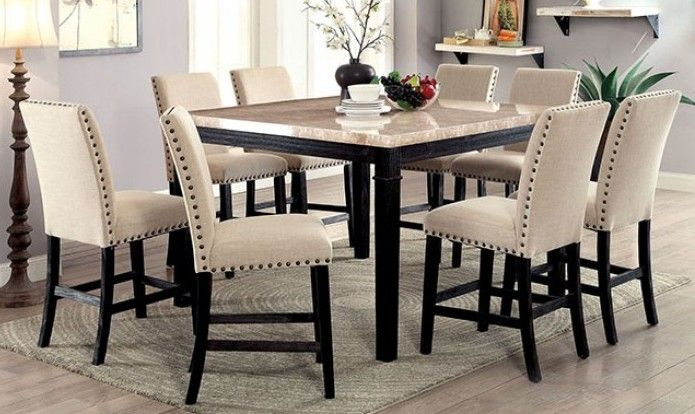 Cm3466pt 7pc 7 Pc Alcott Hill Quill Dodson Ii Black Finish Wood Faux Marble Top Counter Height Dining Table Set Counter Height Dining Table Set Counter Height Dining Table Counter Height Dining