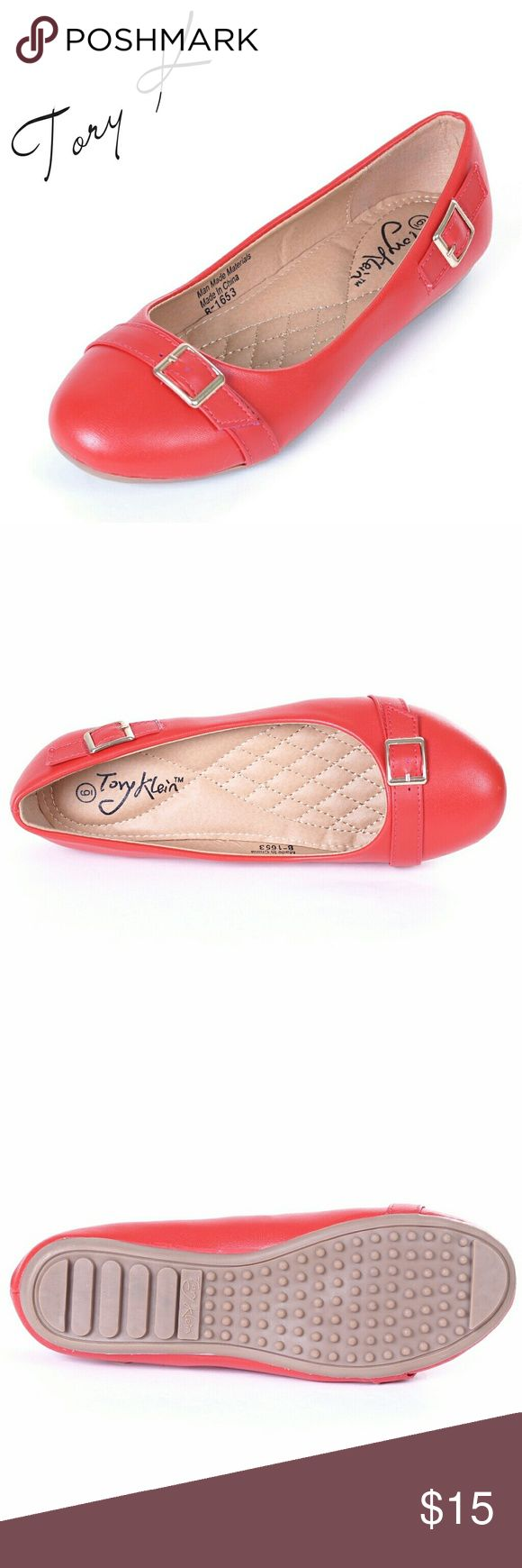 Women Ballerina Flats with Buckle, b-1653, Red Brand new Tory Klein woman ballerina flats in beautiful glossy red with a belt like buckle in the front, and anotherone on the outer side. Soft cushioned sole, very comfortable. Bubbled bottom sole for extra traction. A true staple in ladies shoes fashion! Measurements: larger sizes run small. Size  10 measures 10.5 inches. Tory K  Shoes Flats & Loafers