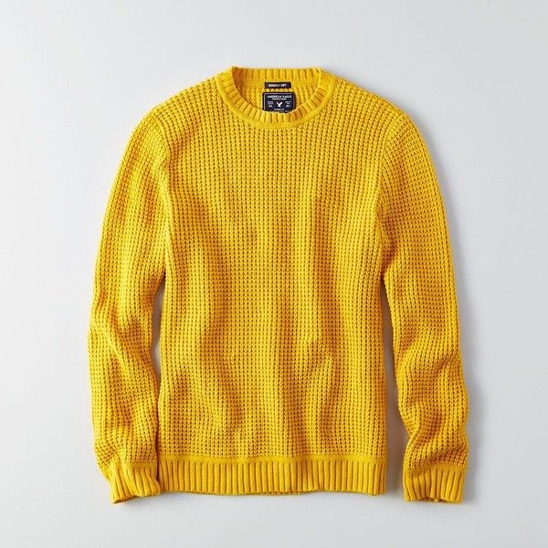 AE Waffle Crew Sweater ($50) ❤ liked on Polyvore featuring men's fashion, men's clothing, men's sweaters, yellow, mens crew neck sweaters, mens crewneck sweaters, mens tall sweaters and mens yellow sweater