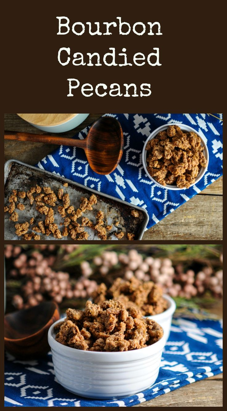 Bourbon Candied Pecans great as a gift, or snack!  #bourbon #sugar #giftideas