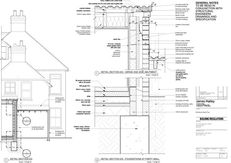House extension party wall detail architecture details for Party wall section