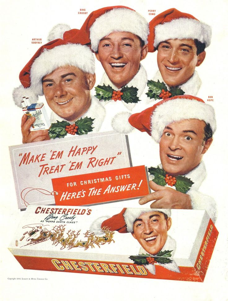 Vintage Christmas Magazine Ad ~ Chesterfield's Cigarettes ~ Arthur Godfrey, Bing Crosby, Perry Como, Bob Hope