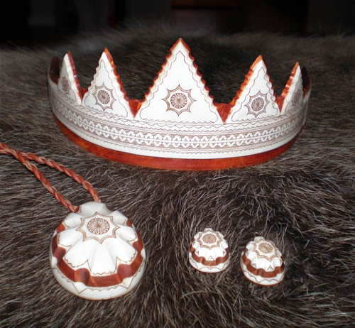 I said no tiaras, but this one made by a saami artisan inspired by traditional motifs and materials is too interesting to ignore.