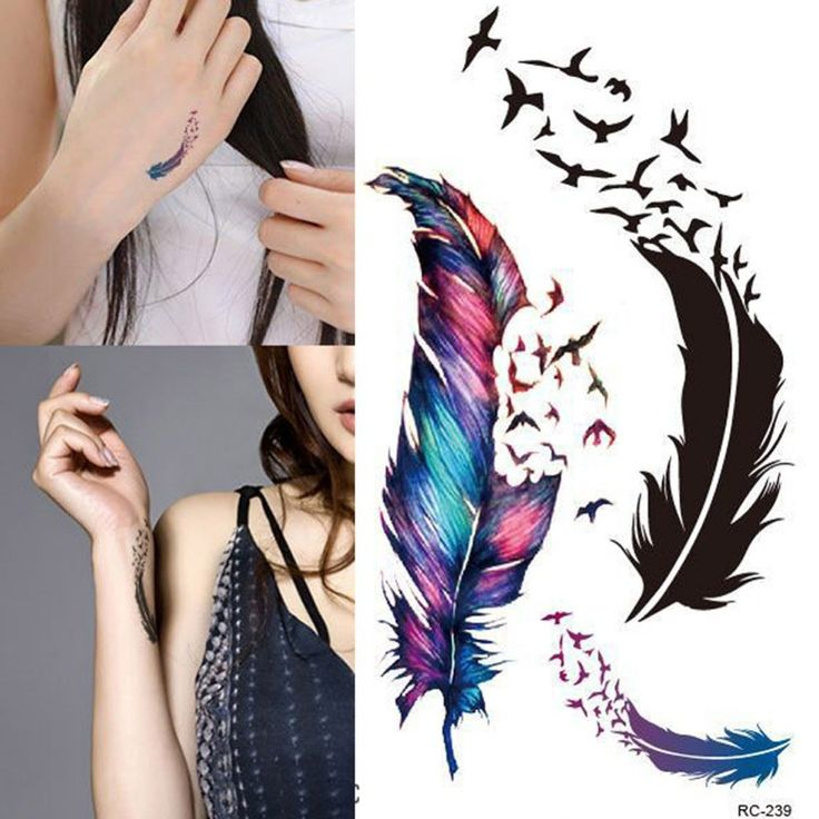 Trendy Waterproof Small Fresh Wild Goose Feather Pattern Tattoo Stickers - Photo…