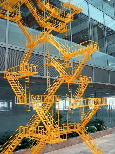Second Means of Egress (Yellow) by Sarah Sze