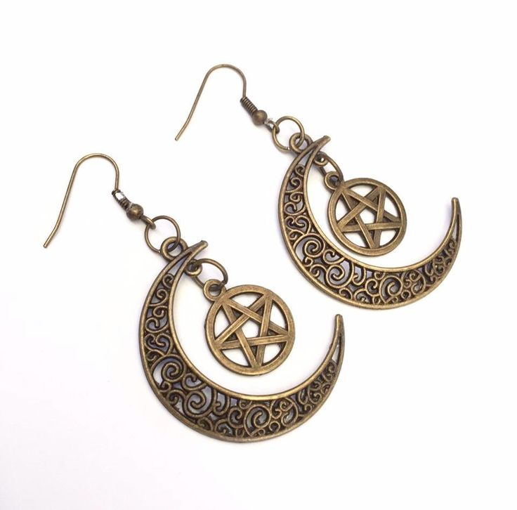 Bronze Pentagram Crescent Moon Earrings