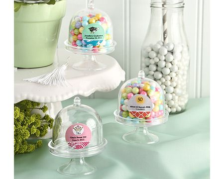 Joyful Bride - Personalized Mini Plastic Cake Stand Domed Party Favor Container