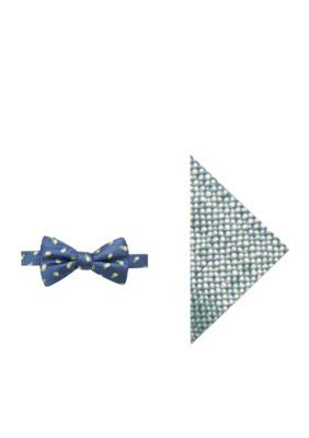 Crown & Ivy™ Men's Naples Lemon Bow Tie And Pocket Square Set - Blue - Regular - 58 In.