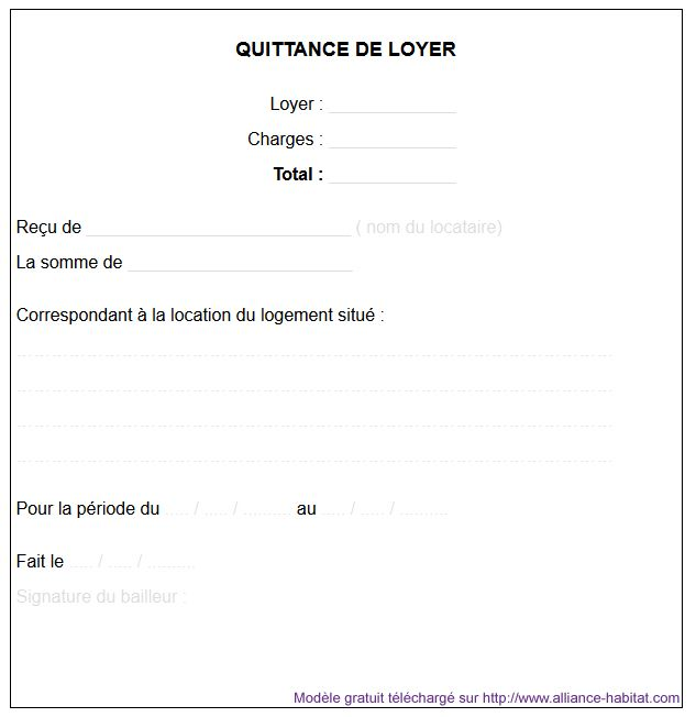 Quittance De Loyer Haute Résolution