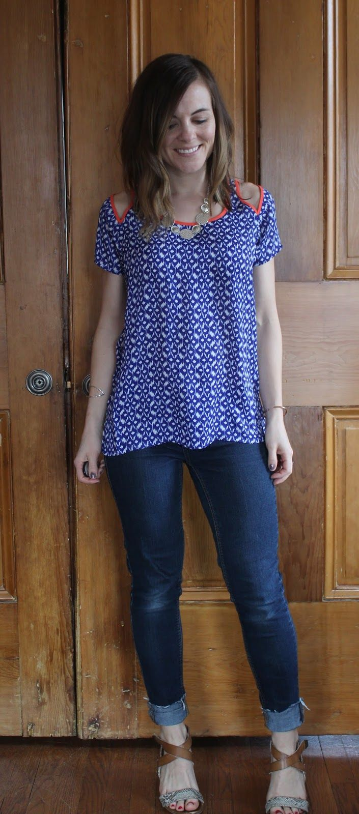 THML Jaye top - I love the easy fit, print, and cool shoulder detail of this top