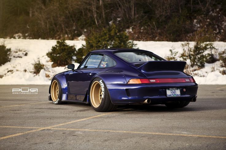 RWB Porsche 993 sitted on gold rims from PUR Wheels. #stance