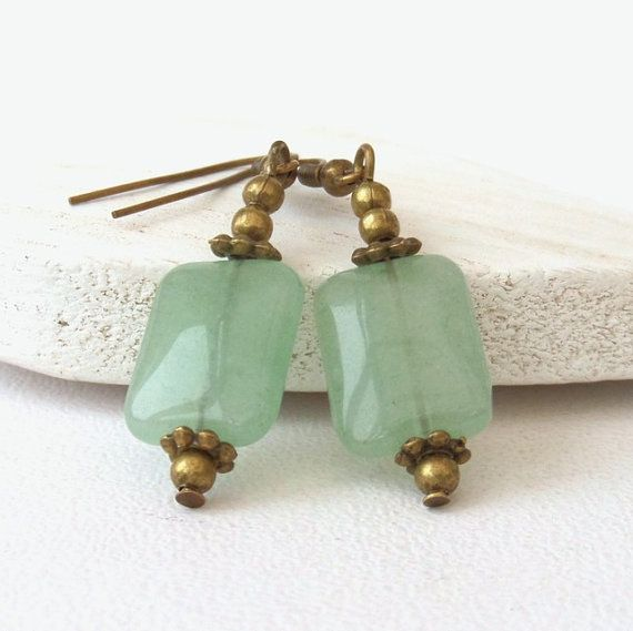 Vintage style earrings green aventurine gemstone earrings unusual present for best friend, vintage inspired accessories , bronze earrings