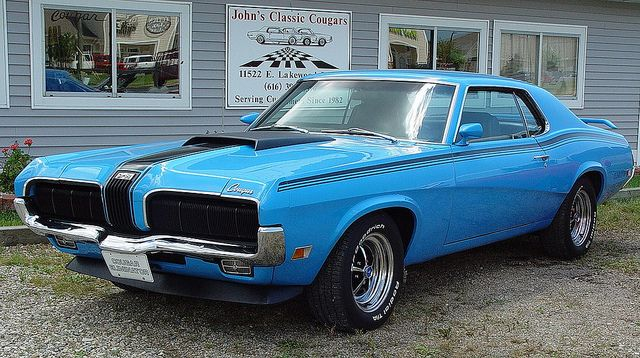Blue '60's Cougar Muscle Car @ John's Classic Cougars - Holland, Michigan - July, '10 by randomroadside, via Flickr