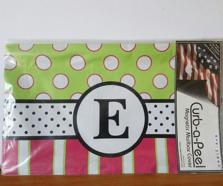 Monogram E Magnetic Mailbox Cover Pink Green Black NEW Dots Curb-a-Peel #Curbapeel #maginet #mailbox #cover