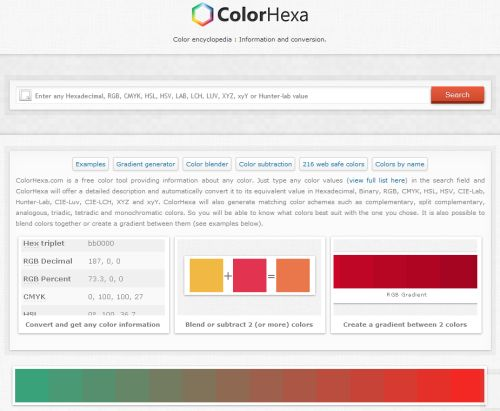 colorhexacom is a free color tool providing information about any color just type