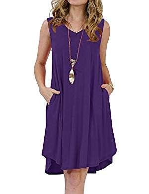 99eb20b24f Womens T Shirt Dresses Summer V Neck Sleeveless Casual Swing Midi Tunic  Dress with Pockets