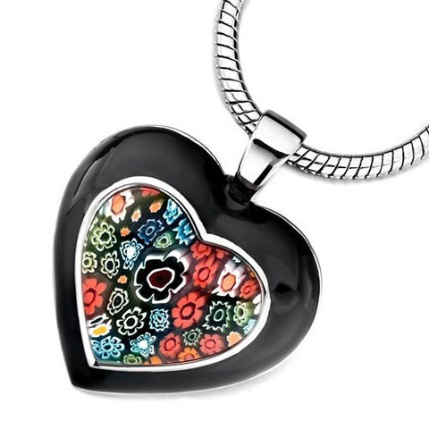 Black Murano Glass Millefiori Floral Heart Pendant imported from Italy!  $26.99