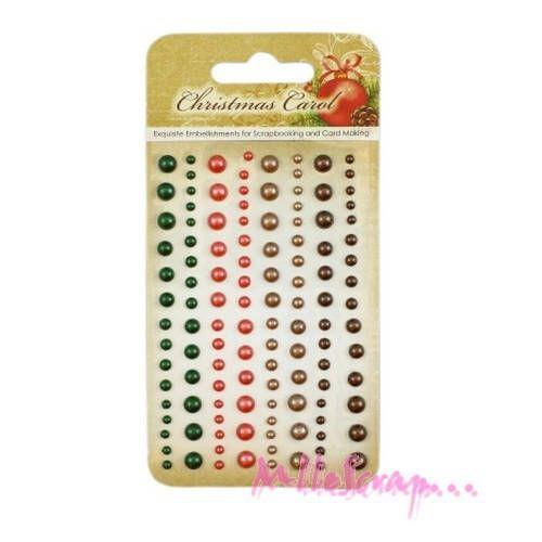"""Lot de 120 demi-perles autocollantes """"Christmas Carol""""  embellissement scrapbooking carterie* de la boutique MademoiselleScrap sur Etsy"""