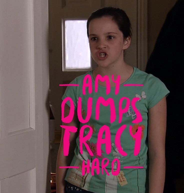 Amy, has tossed Tracy. If you know your Corrie DNA, you can see A younger Tracy in Amy. Amy was sold by her mother to Roy and Hayley at birth. She entered as Patience Cropper. If you go back 12 years the story is remarkable. Tracy hasn't changed.