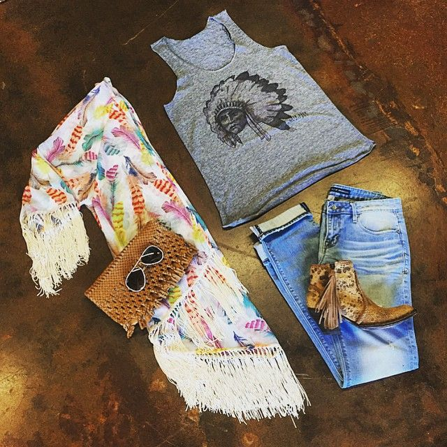 Feather fringe long kimono, Indian chief tank, cropped boyfriend jeans, fringe booties