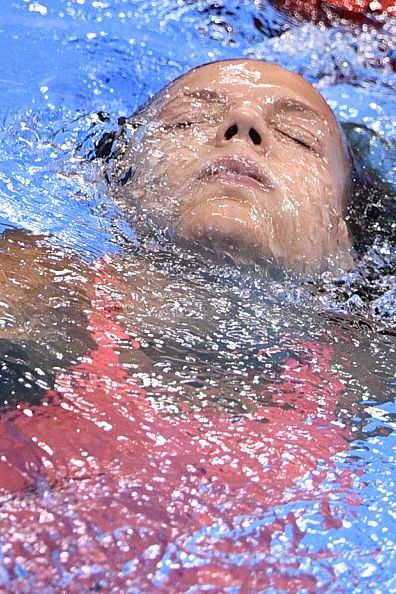 Russia's Yulia Efimova reacts after she won the silver medal in the Women's 100m Breaststroke Final during the swimming event at the Rio…