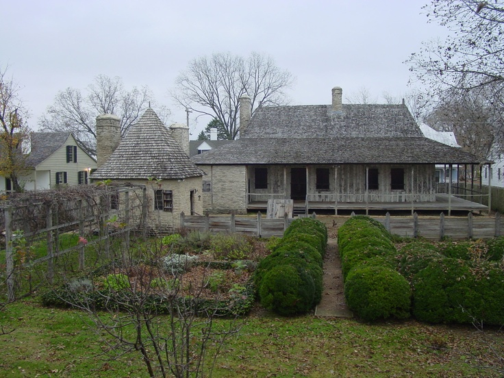 The Bolduc House in Ste. Genevieve--one of the founding homes.  The small building with the conical roof is not original.  It was built with the thought that there would have been a summer kitchen there.  It has now become a small museum honoring Cherokee history.