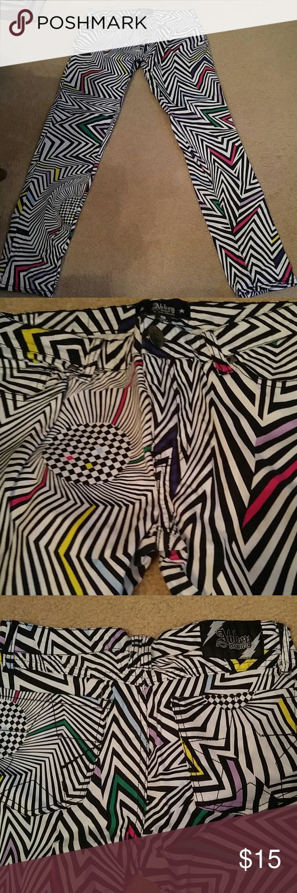 """Abbey Dawn Avril Levigne Psychedelic Pants Sz 9 Abbey Dawn by Avril Levigne Psychedelic Pants.  Sz 9. Excellent preowned! Measurements:  Waist 29"""" Rise 8"""" Inseam 29"""" Abbey Dawn Pants Skinny"""