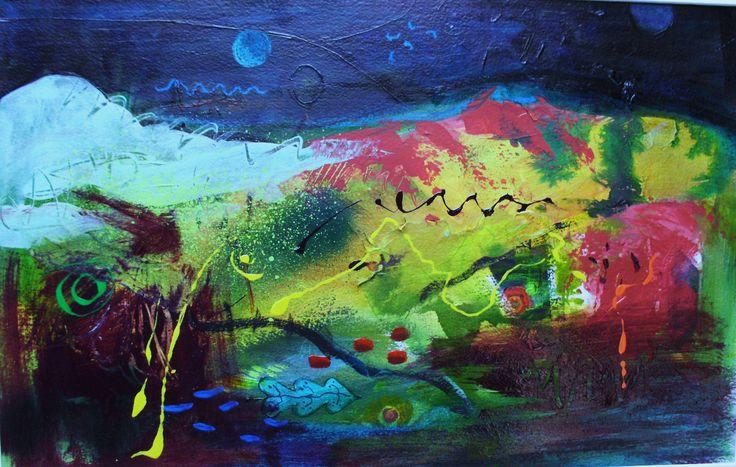 In the night garden, mixed media by Ceridwen Jane Gray