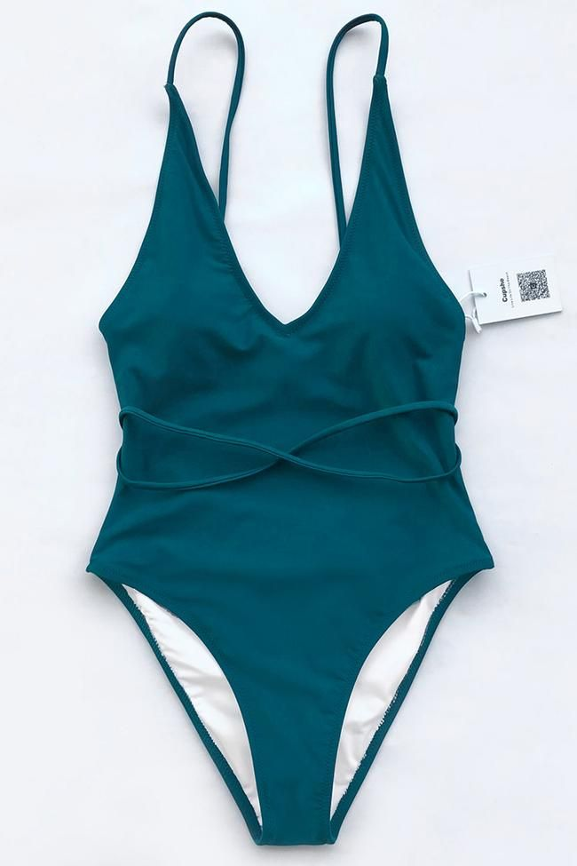 c437aa930c2d8 Cupshe Watch The Clouds Solid One-piece Swimsuit   Bathsuit in 2019 ...