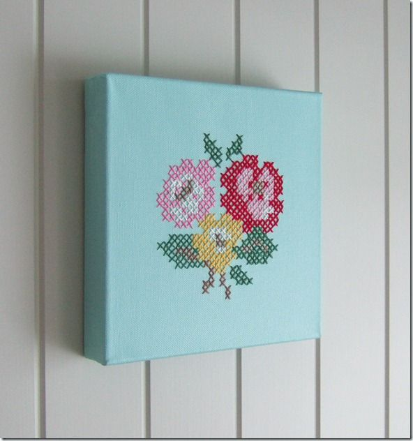 Cross-stitch on painted canvas