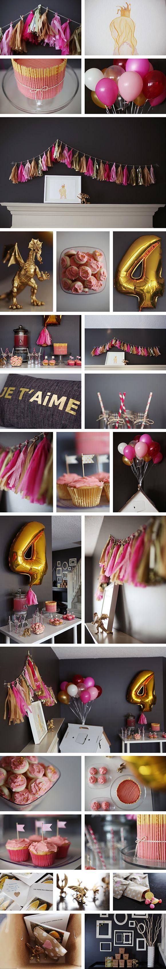 pinksugarland paper bag princess party.  Love the color scheme.