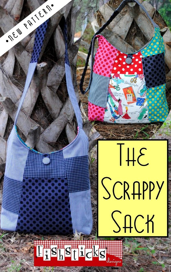 SCRAPPY SACK BAG FISHSTICKS DESIGN PDF ePATTERN - $9.75 : PatternsOnly, Patterns for Quilting, Patchwork, Handbags, Soft Toys,Clothing and More