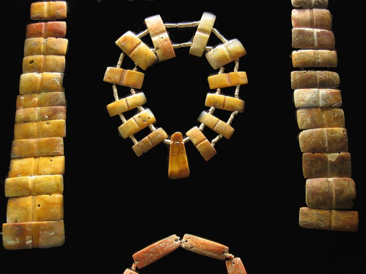 SPONDYLUS NECKLACE This necklace was elaborated by Ecuadorian Pre-Columbian cultures by using the splendid spondylus shell as their main material.  www.gogoanhalzer.com