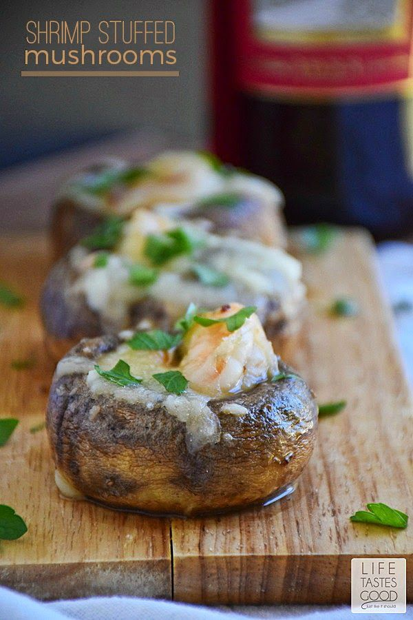 Shrimp Stuffed Mushrooms   by Life Tastes Good is shrimp sauteed in garlic butter carefully stuffed inside mushroom caps and smothered in melted mozzarella cheese.
