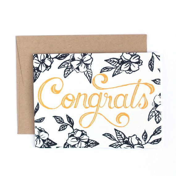 Front: Congrats Inside: blank  Say congratulations with this elegant floral card which was hand drawn and printed.  Card size: 5.5 x 4.25 (A2)