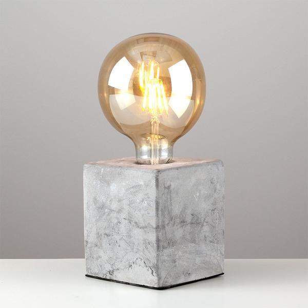 Concrete Cube Lamp + Bulb