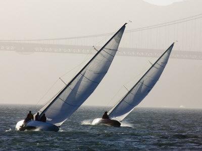 Two Sailboats Race Upwind Towards the Golden Gate Bridge, San Francisco Bay, California