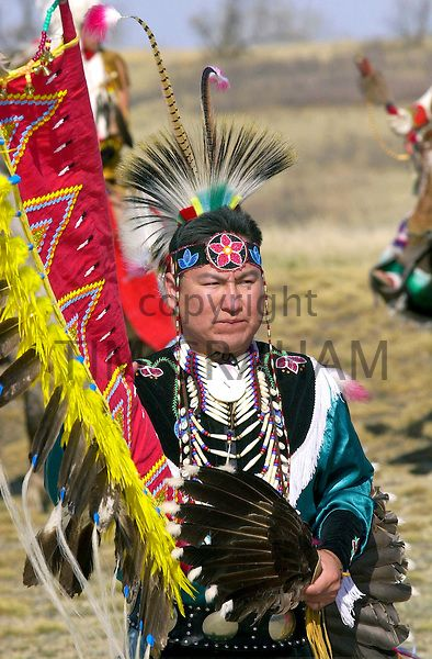 Plains First Nations man in regalia at Wanuskewin Heritage Park, Saskatoon, Saskatchewan - Photo by Tim Graham