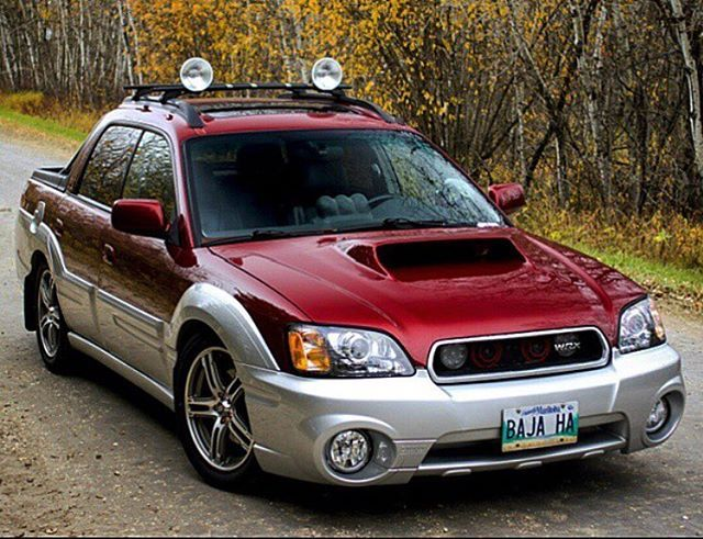 WRX engine swapped into a baja with a scoop that'll eat your soul 😳 Owner: @bajawrx #subaru #baja #wrx #sti