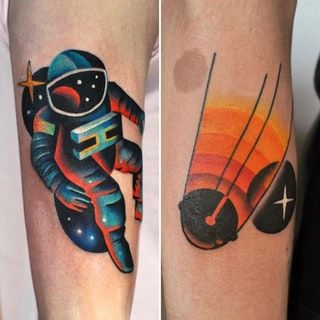 Astronaut and sputnik-1, done by David Cote, imperial tattoo connexion in Montreal : tattoos