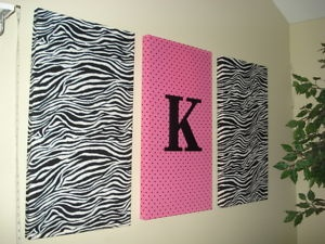Super cute, fabric around canvas :) for my daughters room
