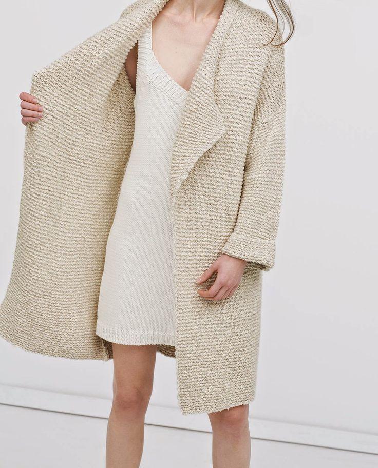 Textured cardigan coat and a sleeveless knit dress   Image via simplelovelyblog.com