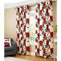 Asda Natural Floral Print Eyelet Curtain Fully Lined