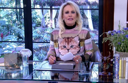 A blusa listrada com estampa de gato usada pela apresentadora Ana Maria Braga no #MaisVocê