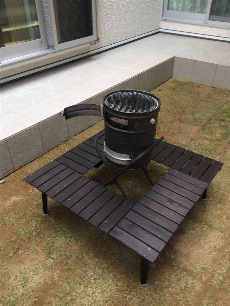 自作 囲炉裏テーブル&ペール缶コンロ