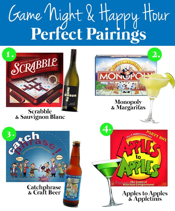 game night & happy hour pairings love this idea but will need to match up new pairings