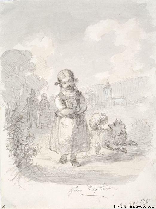 Ekman, Anders  Tyttö juoksevan koiran kanssa, taustalla oikealla kirkko, vasemmalla vanhahko pariskunta