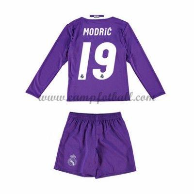 Fotballdrakter Barn Real Madrid 2016-17 Modric 19 Borte Draktsett Langermet