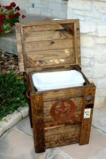 rustic cowboy trash can- could use this for the kitchen