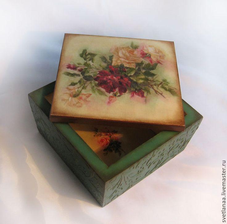 """Шкатулка """" Садовые розы"""" - шкатулка для мелочей,шкатулка ручной работы"""